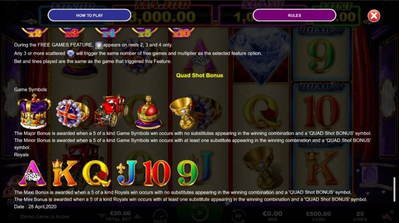 Royal Diamonds Quad Shot :: Quad Shot Bonus