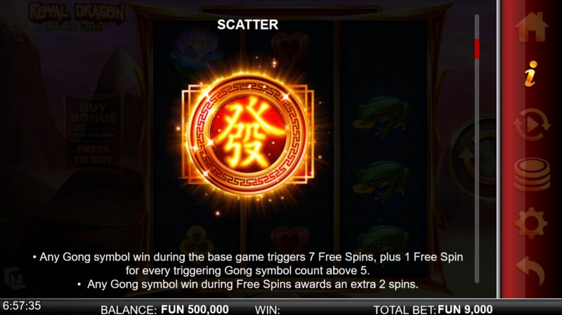 Royal Dragon Infinity Reels :: Scatter Symbol Rules