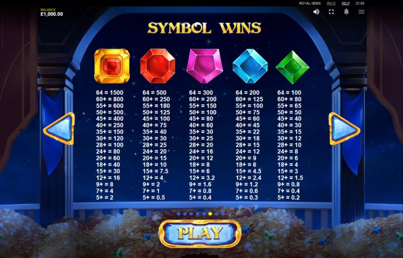 Royal Gems :: Paytable - High Value Symbols
