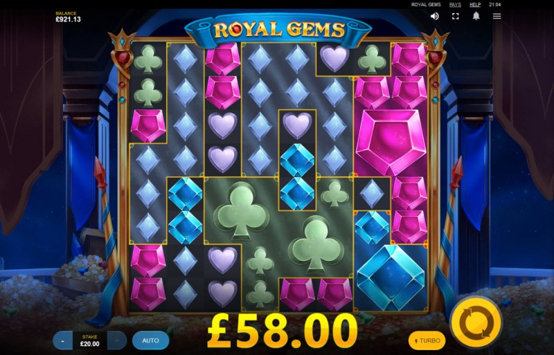 Royal Gems :: Respins continue until no further cluster wins appear