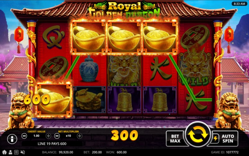 Royal Golden Dragon :: A four of a kind win