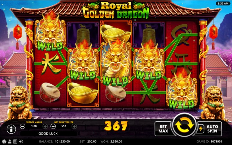 Royal Golden Dragon :: Multiple winning combinations lead to a big win