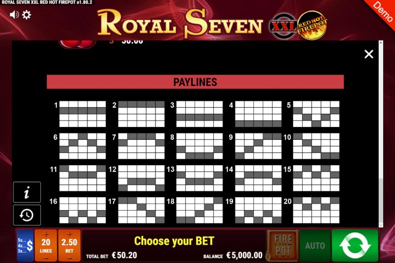 Royal Seven XXL Red Hot Fire Pot :: Paylines 1-20