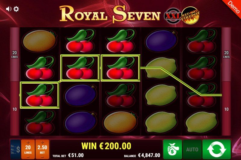 Royal Seven XXL Red Hot Fire Pot :: Three of a kind