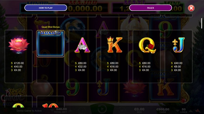 Royal Swan Quad Shot :: Paytable - Low Value Symbols