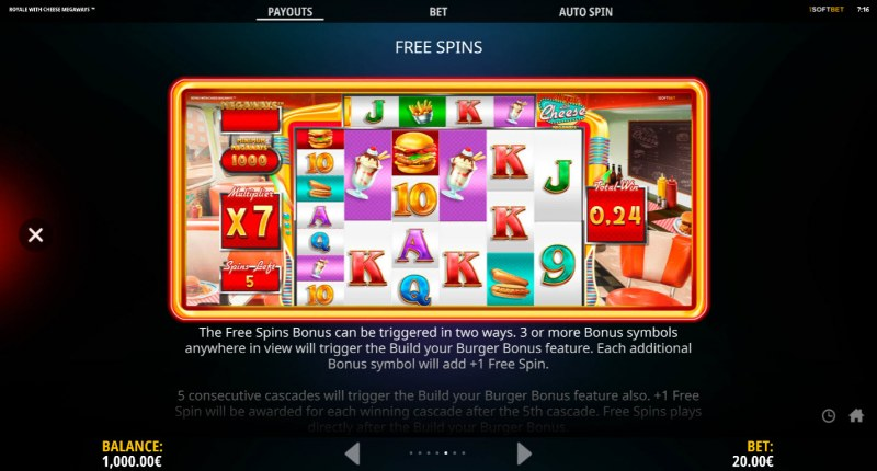 Royale With Cheese Megaways :: Free Spin Feature Rules