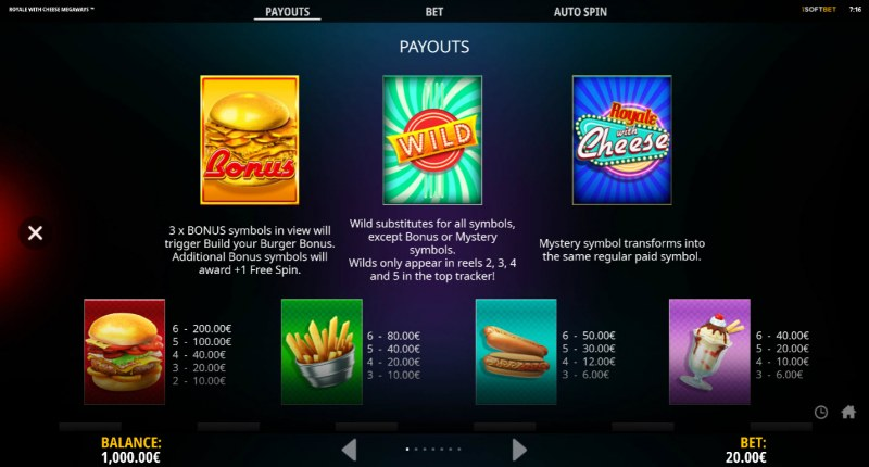 Royale With Cheese Megaways :: Paytable - High Value Symbols