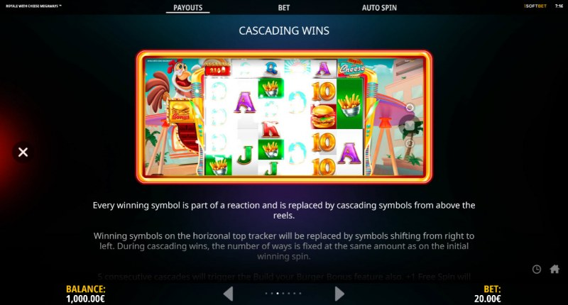 Royale With Cheese Megaways :: Cascading Wins