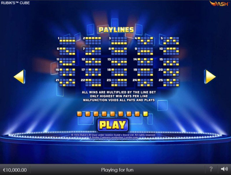 Rubik's Cube :: Paylines 1-25