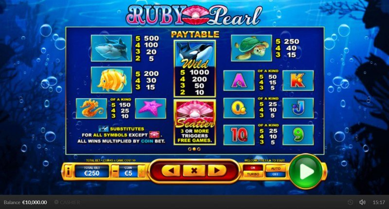 Ruby Pearl :: Paytable