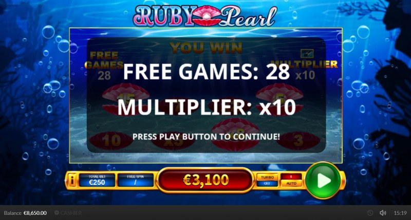 Ruby Pearl :: 28 free spins awarded