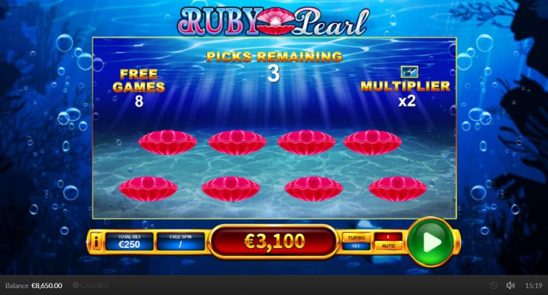 Ruby Pearl :: Pick three shells to reveal multipiers or free games