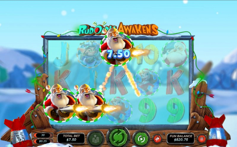 Rudolph Awakens :: A three of a kind win