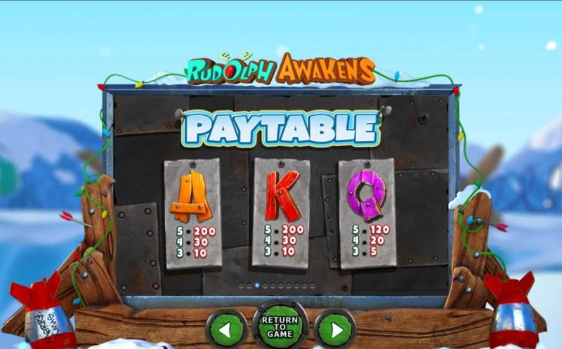 Rudolph Awakens :: Paytable - Low Value Symbols