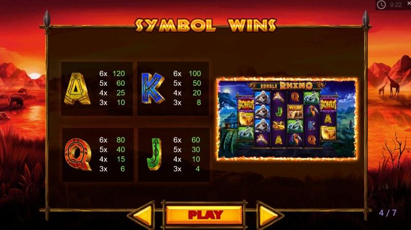 Rumble Rhino :: Paytable - Low Value Symbols