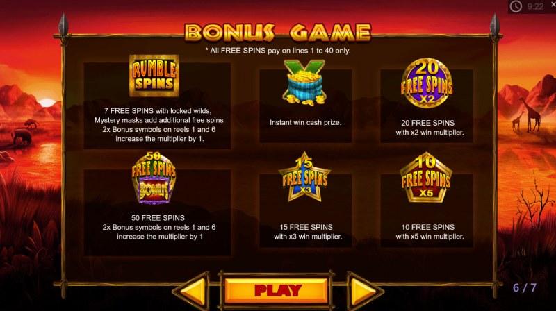 Rumble Rhino :: Bonus Game Rules