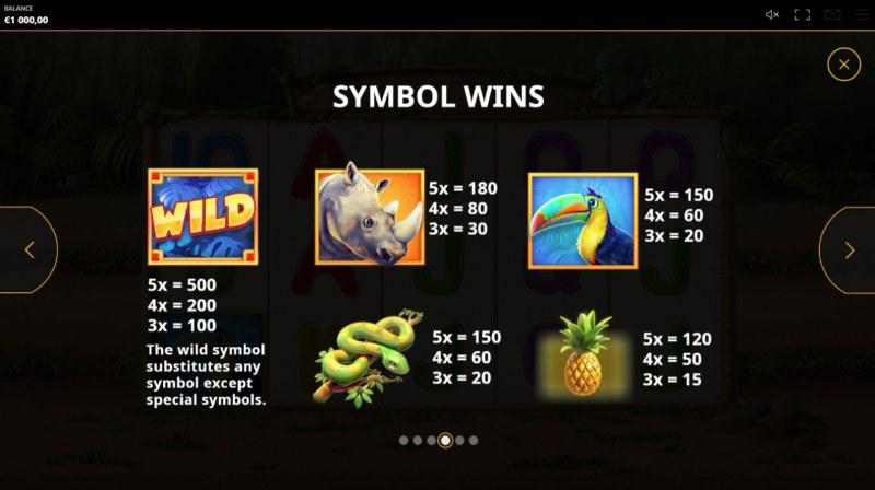 Rumble Rhino :: Paytable - High Value Symbols