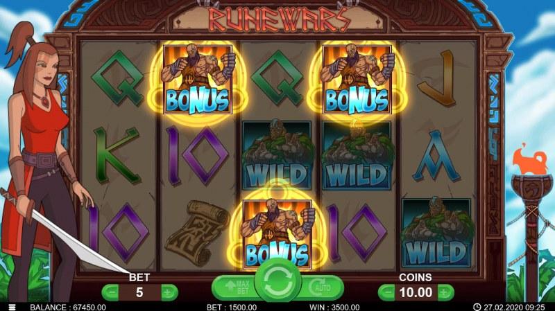 Runewars :: Scatter symbols triggers bonus feature