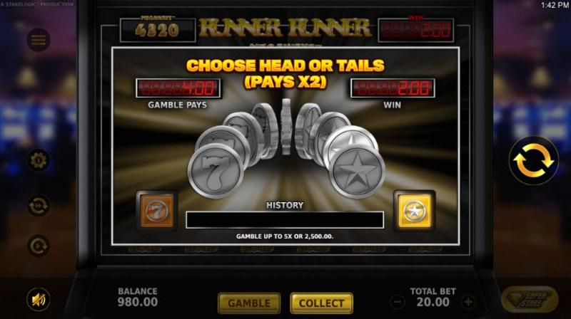 Runner Runner Megaways :: Gamble Feature Game Board
