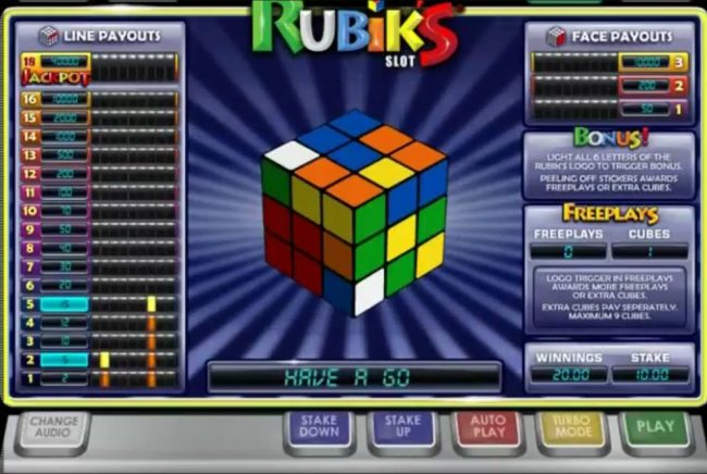Play slots at Party Casino: Party Casino featuring the Video Slots Rubik's Slot with a maximum payout of $80,000