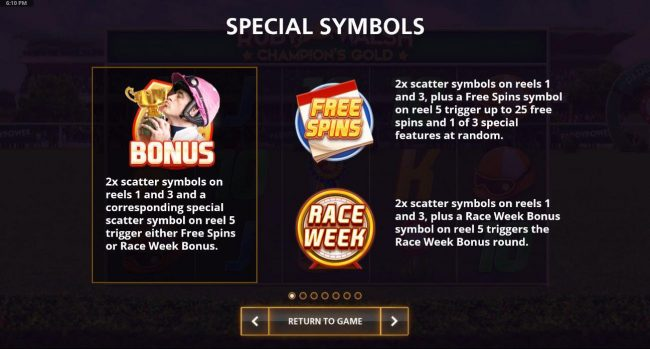 Special Symbols - Bonus, Free Spins and Race Week