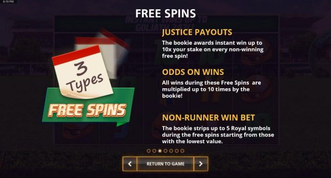 Free Spins - Justice Payouts, Odds On Wins and Non-Runner Win Bet