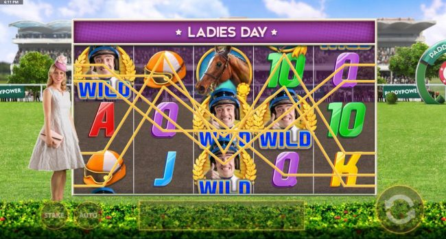 Ladies Day Bonus is randomly triggerd and changes symbols into wilds.