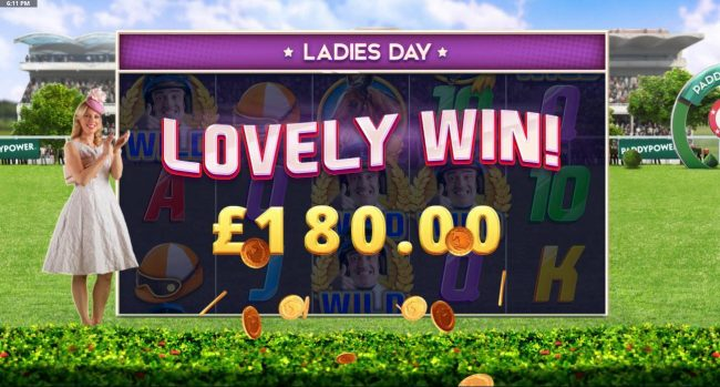 Ladies Day Bonus triggers a 180.00 big win.