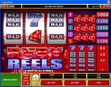 Astralbet featuring the Video Slots Ruby Reels with a maximum payout of $25,000