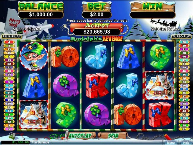 Intertops featuring the Video Slots Rudolph's Revenge with a maximum payout of Jackpot