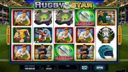 Play slots at Lucky Nugget: Lucky Nugget featuring the Video Slots Rugby Star with a maximum payout of $240,000