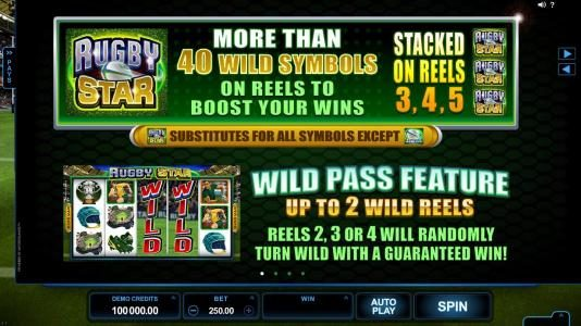 Fortune Junction featuring the Video Slots Rugby Star with a maximum payout of $240,000