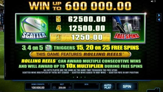 Spinrider featuring the Video Slots Rugby Star with a maximum payout of $240,000