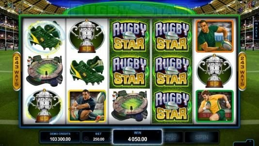 Blackjack Ballroom featuring the Video Slots Rugby Star with a maximum payout of $240,000