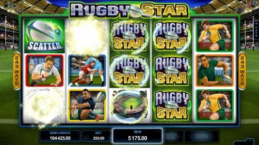 Maxino featuring the Video Slots Rugby Star with a maximum payout of $240,000