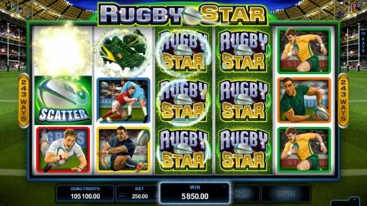 Tivoli featuring the Video Slots Rugby Star with a maximum payout of $240,000