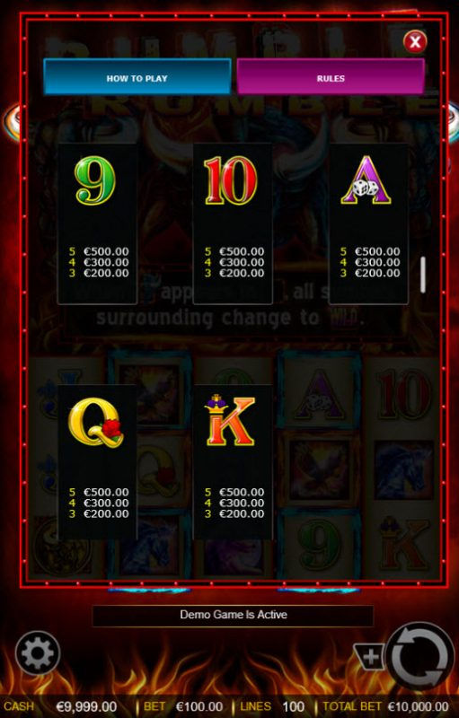 Rumble Rumble :: Free Spins - Low Value Symbols