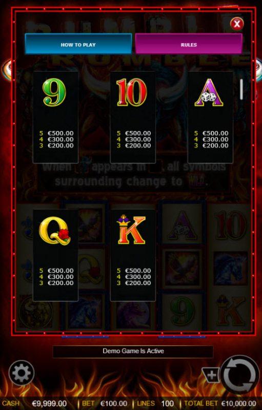 Rumble Rumble :: Low Value Symbols