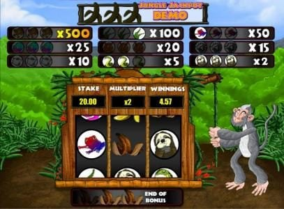 Energy featuring the Video Slots Rumble in the Jungle with a maximum payout of Jackpot