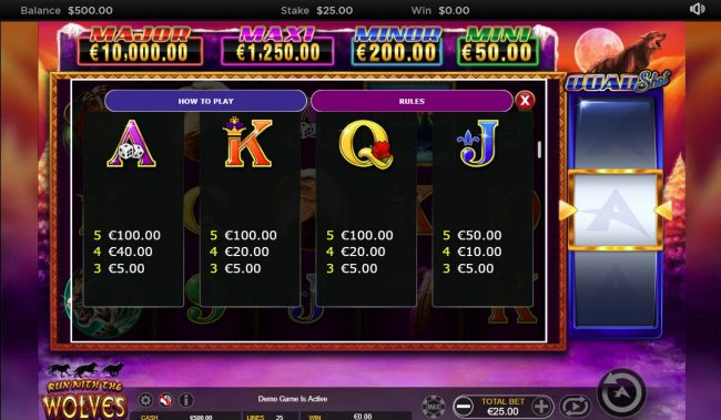 Casino-X featuring the Video Slots Run with the Wolves Quad Shot with a maximum payout of $7,500