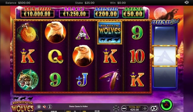 Play slots at Brazino777: Brazino777 featuring the Video Slots Run with the Wolves Quad Shot with a maximum payout of $7,500
