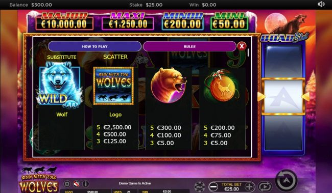 Casinia featuring the Video Slots Run with the Wolves Quad Shot with a maximum payout of $7,500
