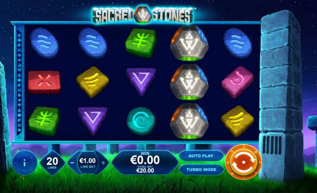 Omni featuring the Video Slots Sacred Stones with a maximum payout of $250,000