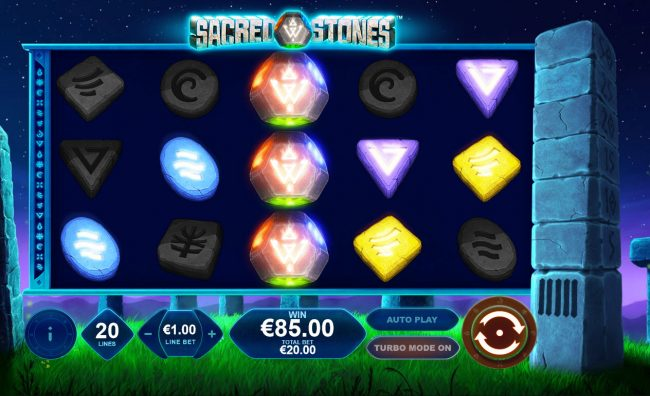 Euro Grand featuring the Video Slots Sacred Stones with a maximum payout of $250,000