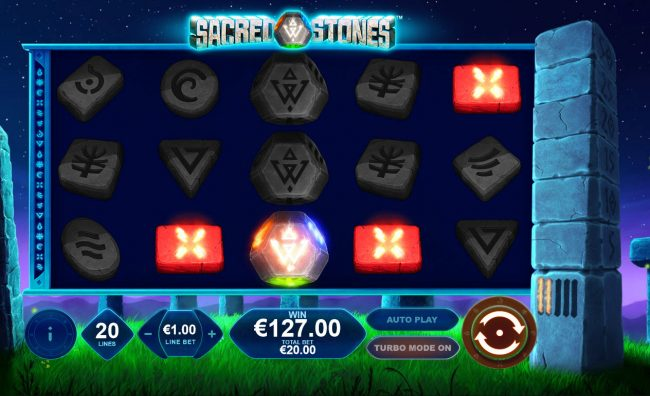 Money Storm featuring the Video Slots Sacred Stones with a maximum payout of $250,000