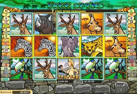 Miami Club featuring the Video Slots Safari with a maximum payout of $100,000