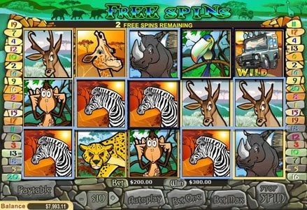 Liberty Slots featuring the Video Slots Safari with a maximum payout of $100,000