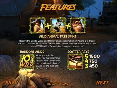 Betchain featuring the Video Slots Safari Sam with a maximum payout of $12,500