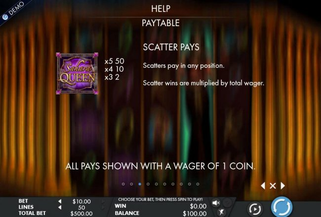 Scatter symbol pays and rules