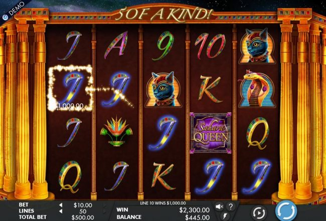 Crazy vegas featuring the Video Slots Sahara Queen with a maximum payout of $10,000